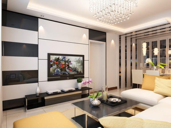电视背景墙采用黑色钢化玻璃圈边处理,配以石膏板造型墙面做的简单几何造型,中间被黑色钢化玻璃装饰,既简单又大方,配上顶部照下来的灯光,整个电视背景墙把客厅提升起来