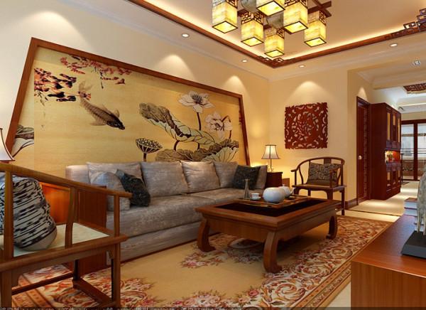 移步室内,映入眼帘的是线与面的结合,简洁,利落。古韵十足的太师椅,典雅的中式吊灯,沙发背景墙独特的设计造型,典雅秀丽 的中式墙纸以及留白简化的天花明确了空间基调。