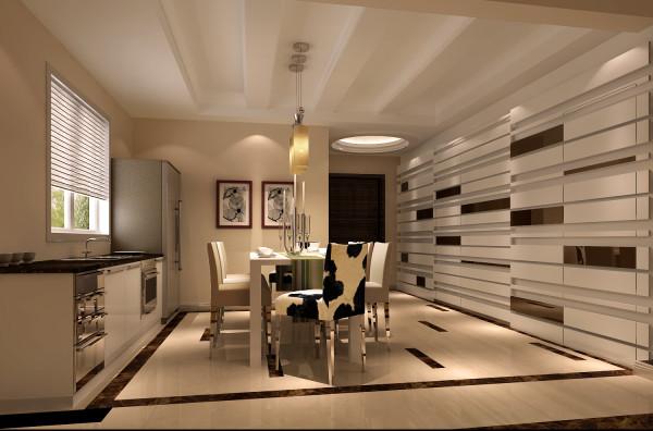 餐厅的墙面区域的设计主要是通过镜子和实木的板才想结合来设计的,将整个区域做的很有味道