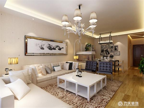 沙发背景墙是以画为主,整个空间的软装都是以白、咖色为主,客餐厅吊顶则是简单的回字形吊顶,彰显了极简主义的特点。