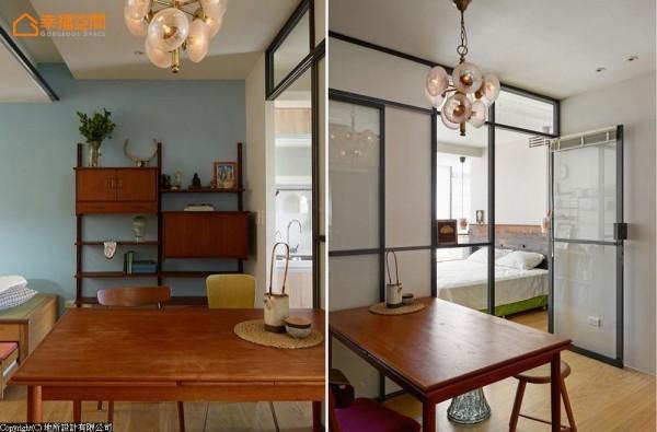 老件餐桌与备餐柜,营造真实到位的古着氛围。