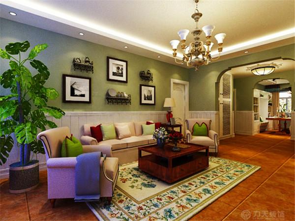 客厅作为一个放松休闲的会客空间,色彩质朴,造型简练,电视背景墙为文化砖造型设计