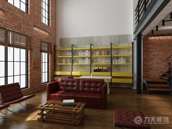 客厅书架与背景的清水混凝土墙搭配前卫时尚,书架的下部有很多抽屉可以做储物之用。