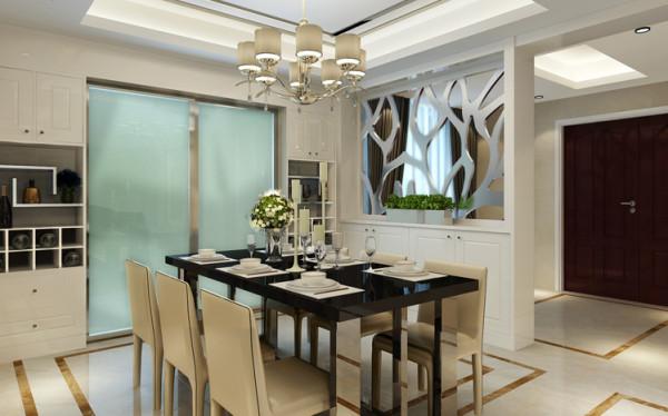 餐厅-用菱形窗格予以遮挡,起到通风透光不透明的作用。