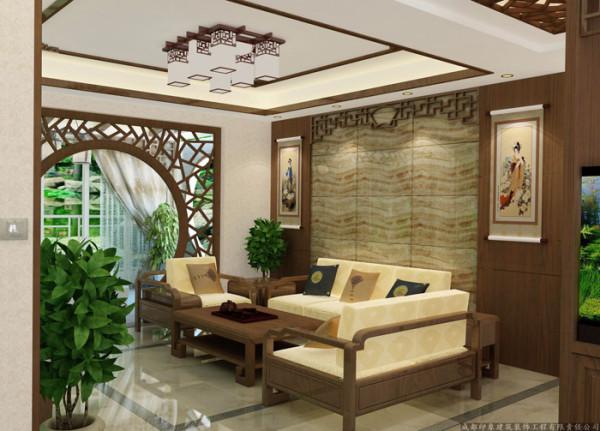 客厅背景墙选用具有质感的大理石使得这个中式风格更具有现代的气息;
