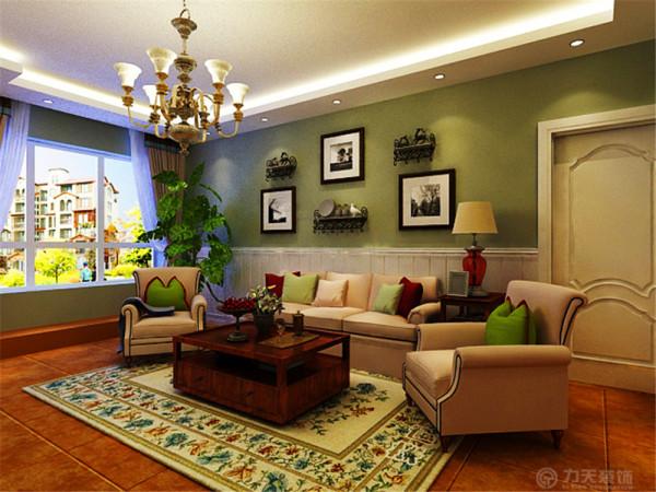 客厅作为一个放松休闲的会客空间,色彩质朴,造型简练,电视背景墙为文化砖造型设计,