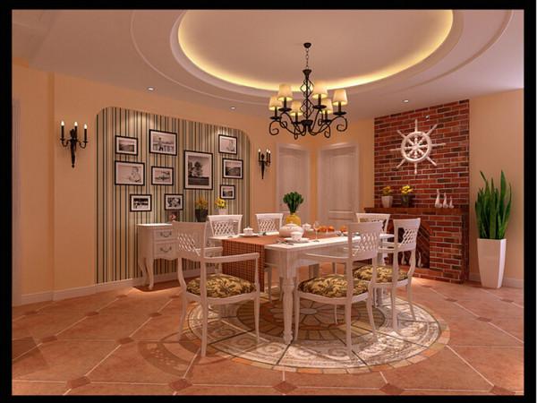 考虑到厨房相对狭小,在餐厅的空间里合理布局了西厨及吧台。在享受美味佳肴时,来杯香槟,在吧台上上网,生活的方便弹指之间。 餐厅圆形吊顶与地面拼花装饰精致的点缀,衬托出照片墙中往日生活的点滴 幸福的回忆!