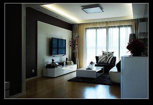 可以看到客厅的电视柜和茶几都是白色的,好像我们都终情于白色