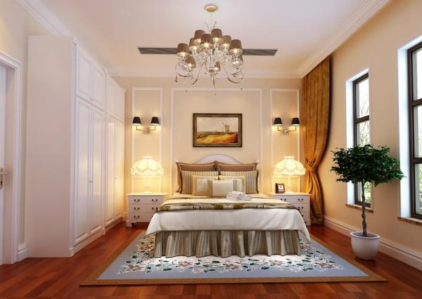 主卧的背景墙设计成简易的石膏线造型,与米黄色的墙漆相搭配,简单去不单调。这样的家,没有喧嚣与繁冗,一派宁静悠远;
