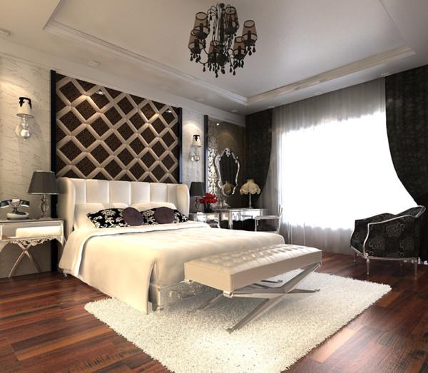 设计理念:主卧的设计在硬装上是选择偏于现代感的。软装上搭配的是欧式的家具。使整个格调比较现代。少去的繁杂的东西。