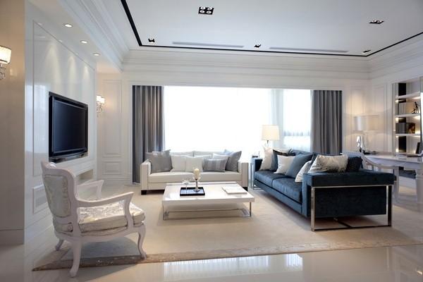 简约白色欧式风格,现代风格与欧式的融合。大平层敞开式的大平层空间,更显宽敞大气。空间的材质运用也是精细。