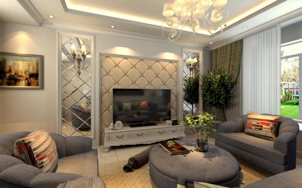 电视墙运用皮质软包和水银镜面,突出了欧式的高档奢华的风格,让整个的空间体现了高端大气上档次。