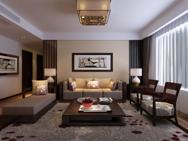 方正的客厅,对称大气的中式设计,简洁不失中式含蓄内敛的韵味。