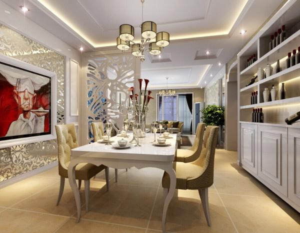 """餐厅中间放着欧式造型的餐桌椅,玻璃烤漆的花色图案,中间""""糕点师画像""""幽默诙谐,增添了餐厅其乐融融的氛围。酒柜的设计,更是彰显了业主的生活品味。"""