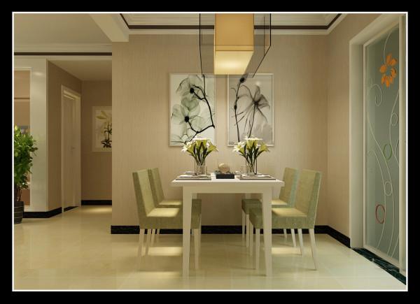 图3.餐厅的设计时干净利落、没有繁杂的设计,主要是运用两张画作为了装饰的点睛之笔,简单的几何餐桌椅更是透露出现代感。