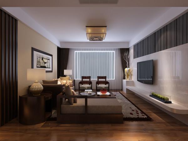 简单的吊顶,使客厅显得整洁。影视墙瓷砖的刚劲和壁纸的柔和相互融合,使得整个空间充满现代气息,