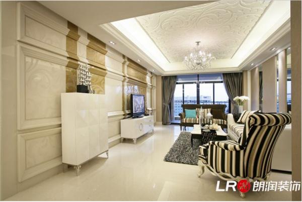 龙城一号125平简欧风格客厅装修效果图
