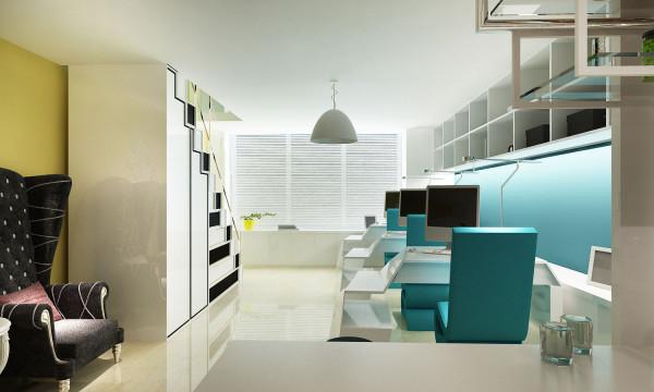 墙面都是采取亮色,让整个空间显得明亮又活泼,楼梯的设计既配合了整体家具,又大大利用了空间。