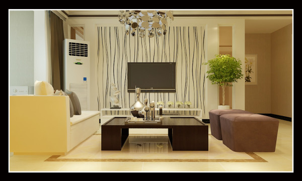 图2.电视背景墙采用的是自然的黑白线条最为大面积的装饰,两边的小面积茶镜作为陪衬,显现出干净、利落的感觉。