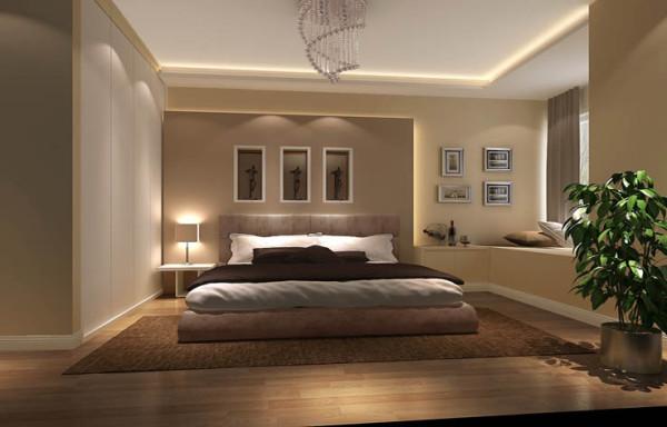主卧室用暖色墙漆、现代简约家具和大飘窗来打造优雅细腻的休息空间,也与整个设计相吻合