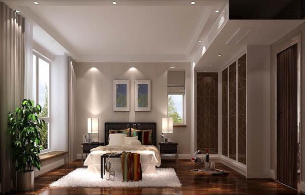 主卧室用港式配饰与港式家具来打造的优雅细腻的休息空间,柜子下面设计了灯带,晚上可以照明