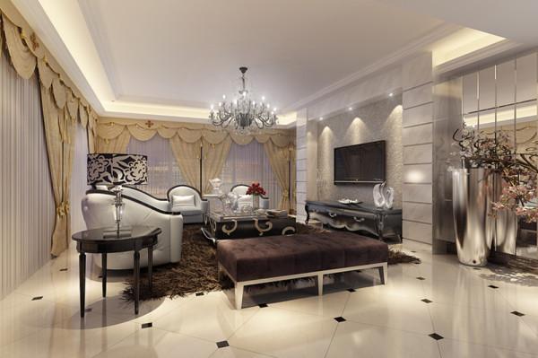 设计理念:结合业主大气奢华生活的青睐,以舒适机能为导向,整体的奢华感。追求外在与心灵上的和谐。通过硬装材料与软装配饰的选择,结合欧式的设计元素。
