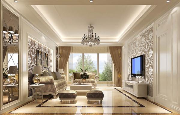 """客厅俩侧在几何造型上对称,也符合中国人以""""对称为美""""的传统情愫"""