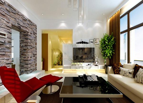 客厅创意背景墙以简约风格进行诠释,设计中运用错位、渐层等手法,不会显得电视墙突兀,而相反给整个空间塑造  一种轻松、灵动的感觉。色彩以中性色为主,给人一种家的温馨感。