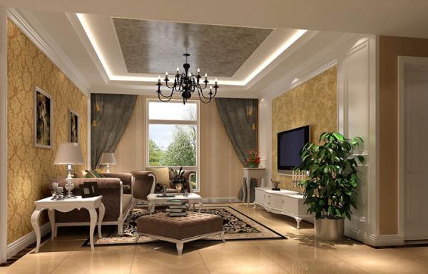 客厅使用典雅的欧式壁纸与暖色墙漆相结合,阳台摆放休闲的吊椅,整个空间呈现出典雅、休闲、舒适的氛围