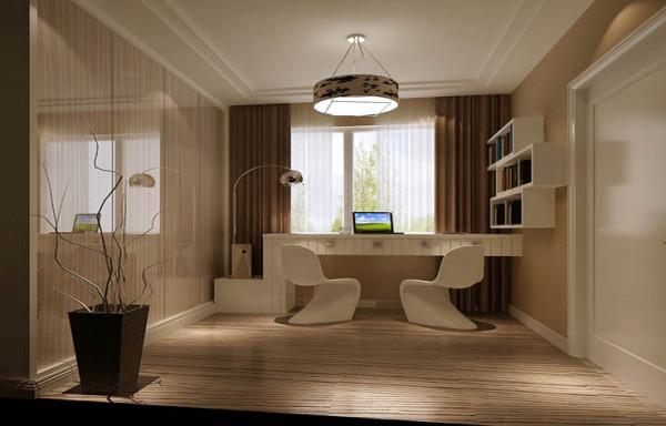 书房柜面使用亮面材质,使整个空间更为开阔、明亮