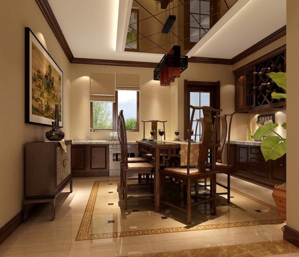 例如,厅里摆一套明清式的红 木家具,墙上挂一幅中国山水画等,传统的书房自然烧不来书柜、书案以及文房四宝。中式这样 表现使整体空间,传统中透着现代,现代中揉着古典。