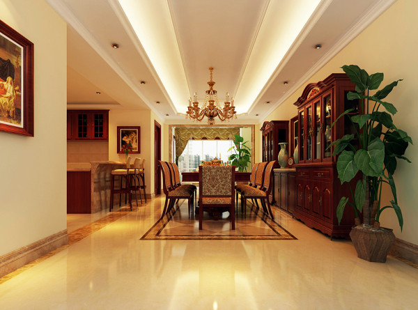 在设计上追求空间变化的连续性和形体变化的层次感,室内多采用带有图案的壁纸及古典装饰画,以体现华丽的风格。