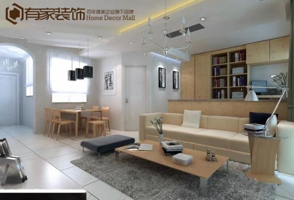 客厅是全房的中心,以原木色作为主色,体现主人对朴素元素的追求。