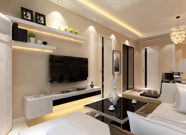 客厅 创意电视背景 电视背景墙采用石膏板做的两个几何造型,既简单又大方,再加上色彩为淡黄色的墙漆(属暖色调) ,配上顶部照下来的灯光,整个电视背景墙把客厅提升起来。