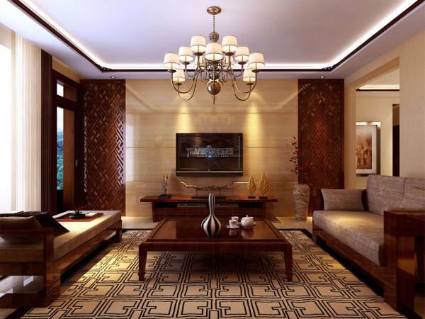 石家庄业之峰装饰-国际城160平米现代中式装修效果图