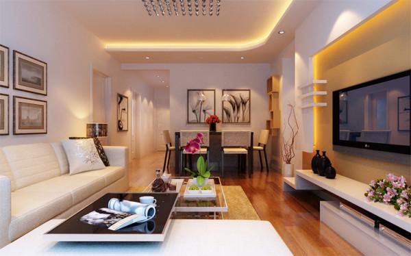 餐厅的设计与客厅保持了一致性。黑白相间的餐桌、背景墙上的软装挂画、与客厅共用线性很强的顶部造型,增加空间的连续性。 不同色的餐桌椅丰富空间,如静水微澜。墙面装饰为黄色的置物架,功能性与美观同在。