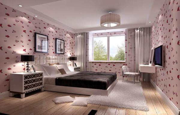 女儿房,选择了粉色的壁纸,浅色的木地板,床上饰品以黑色为主,这样使整个空间很相吻合,达到整体中有细节,细节中体现整体