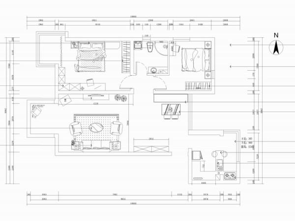 此户型是上北新兴家园两室两厅一厨一卫户型,总面积为109㎡