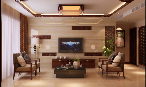 石家庄业之峰装饰-紫阁160平米新中式风格装修效果图