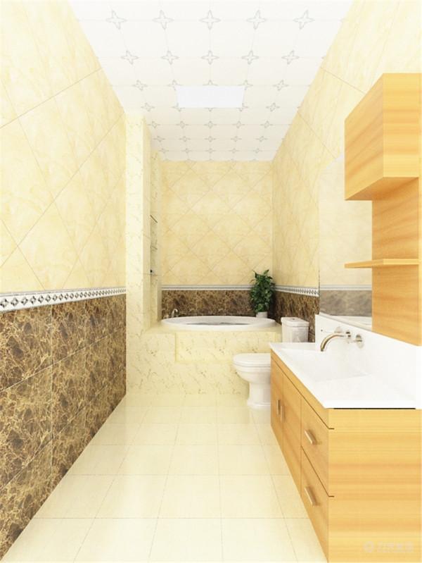 卫生间地面选用的是米黄色瓷砖,使整个空间显得明亮。墙面通贴墙砖,且下半部分为深色石材,中间带一圈腰线,上部分的瓷砖为斜铺,增大空间效果。
