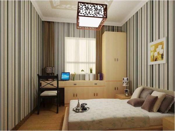 卧室充分利用空间利用角位放置书柜使得空间开阔明亮。