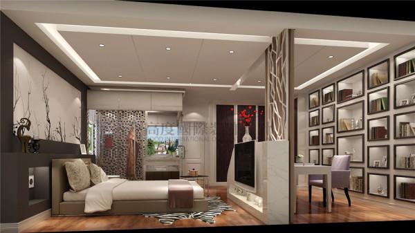 为了能够让客户在繁忙的工作之余回到家能有一个良好的休息区,设计师巧妙的设计手法将2个卧室及卫生间设计成一个带有书房、主卧、主卫及衣帽间为一体的大套房,使得整个房间品质得到提升。