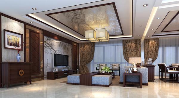 设计理念:客人喜欢中式元素,设计中除了加饰中国红木元素还将定制的山水套砖应用到电视背景上,使客厅雅致清爽而又不失现代感。