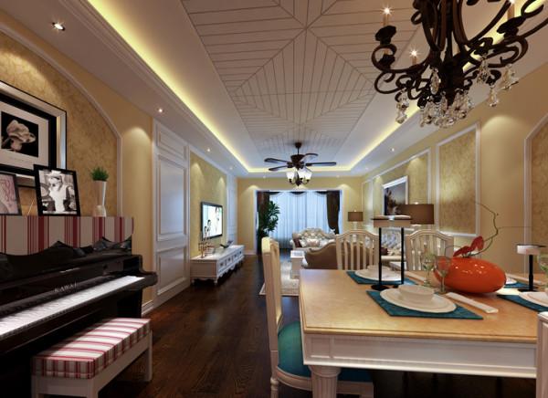 设计理念:米黄色壁纸,加上暗褐色的地板。色彩的同一,整个空间和谐共处,浑然一体,将欧式家 居的奢华与现代家居的实用性完美地结合。 亮点:餐桌旁边的钢琴体现出业主的高贵的业余爱好,整天色调温馨而舒适。