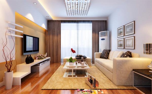 由于客厅跨度不大,电视的观看距离过近,采用此电视墙造型,可以体现拉伸观看距离的感受,空间不再拥挤;
