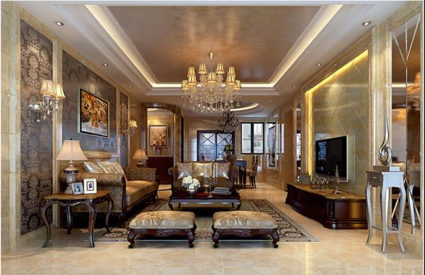 设计理念:以石材、釉面砖搭配车边镜面组合成的背景墙稳重而又不缺乏质感美,与沙发背景深色暗花涂料相互对比映衬,更能营造出视觉平衡的和谐美。