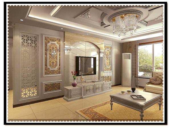 设计的风格是简欧风格,客厅采用米黄色抛光砖,米黄色能包容大量颜色,沙发采用欧式布艺沙发,背景墙采用壁纸、罗马柱、油画相结合的装饰,卧室家具采用欧式造型家具,显得空间高雅大气。