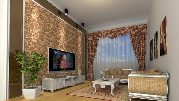 小客厅,业主夫妇在三楼独立的休闲,看电视,会客的空间,简单大方