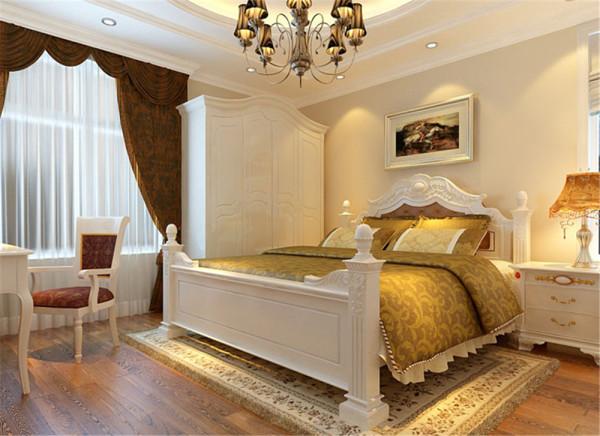主卧室追求的是功能与形式的完美统一,优雅独特、简洁明快的设计风格。利用了材料的多元化应用、几何造型的有机融入、线条节奏和韵律的充分展现、