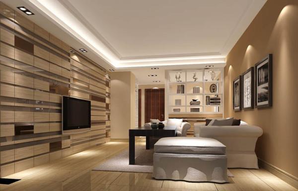 客厅以暖色墙漆与异形的电视背景墙相结合,整个空间呈现出典雅、休闲、舒适的氛围;